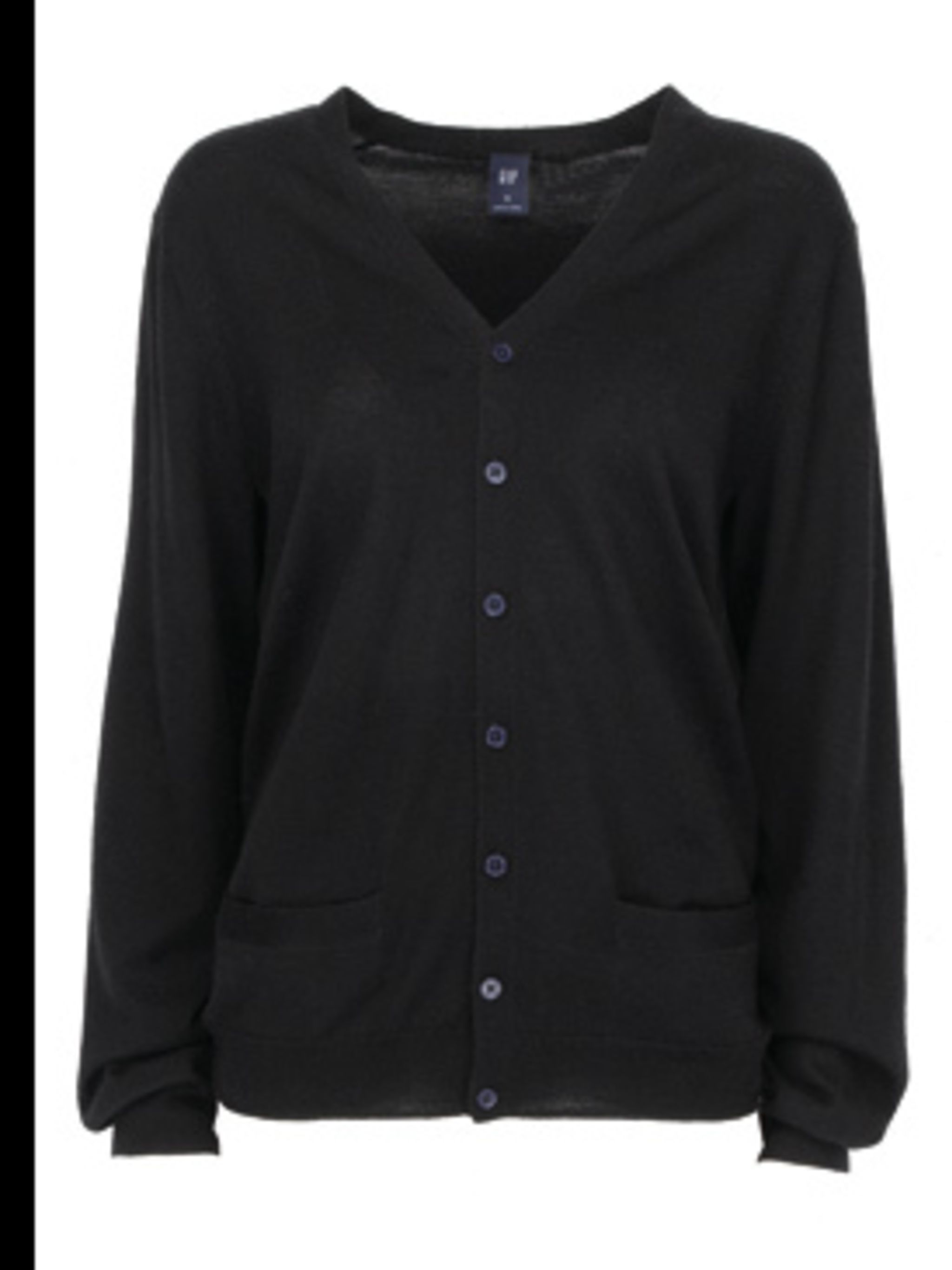 <p>Black cardigan by Gap, for stockists call 0800 427 789</p>
