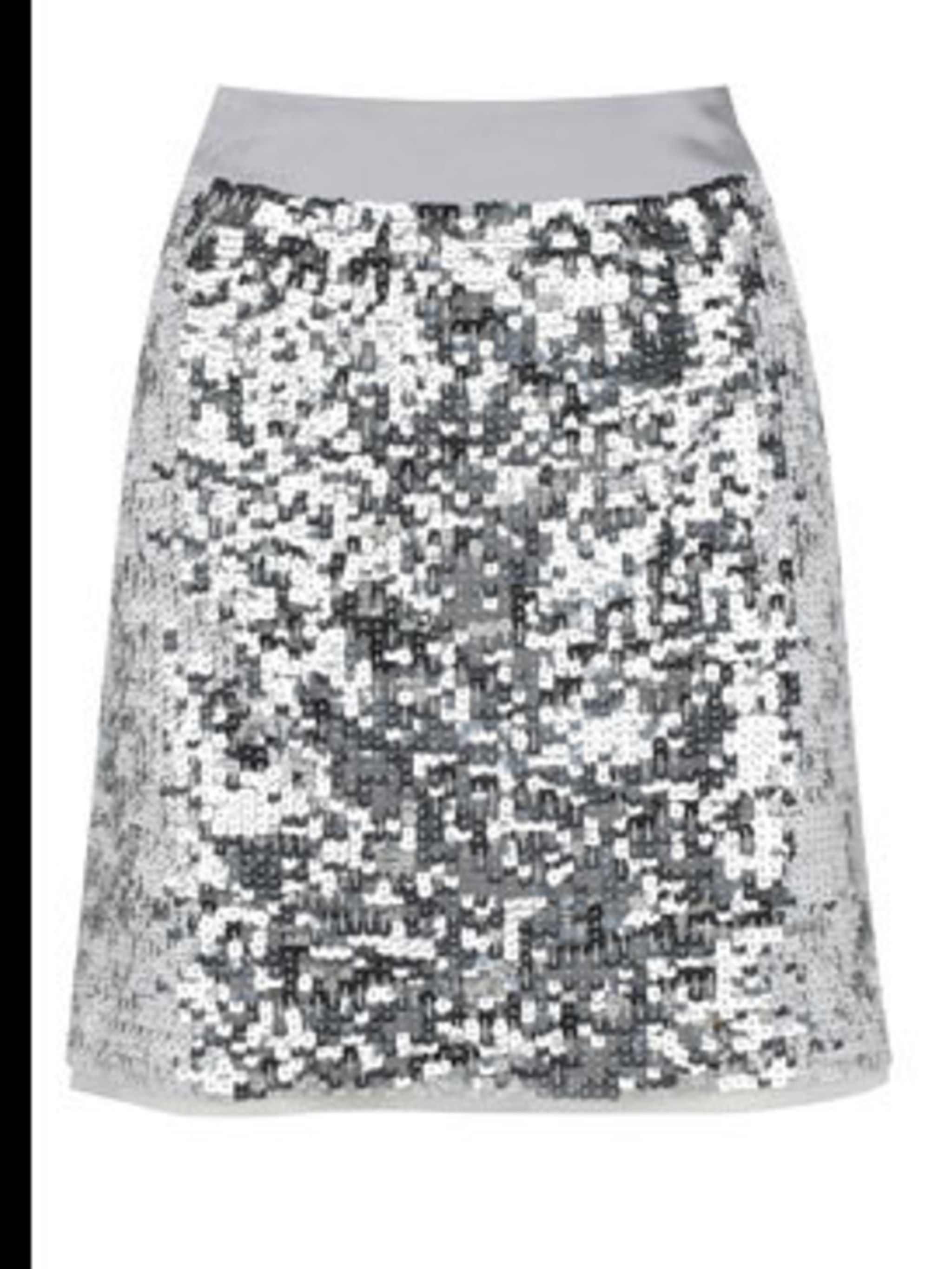 <p>Silver sequin skirt, £45, by Marks &amp&#x3B; Spencer  (0845 302 1234) </p>