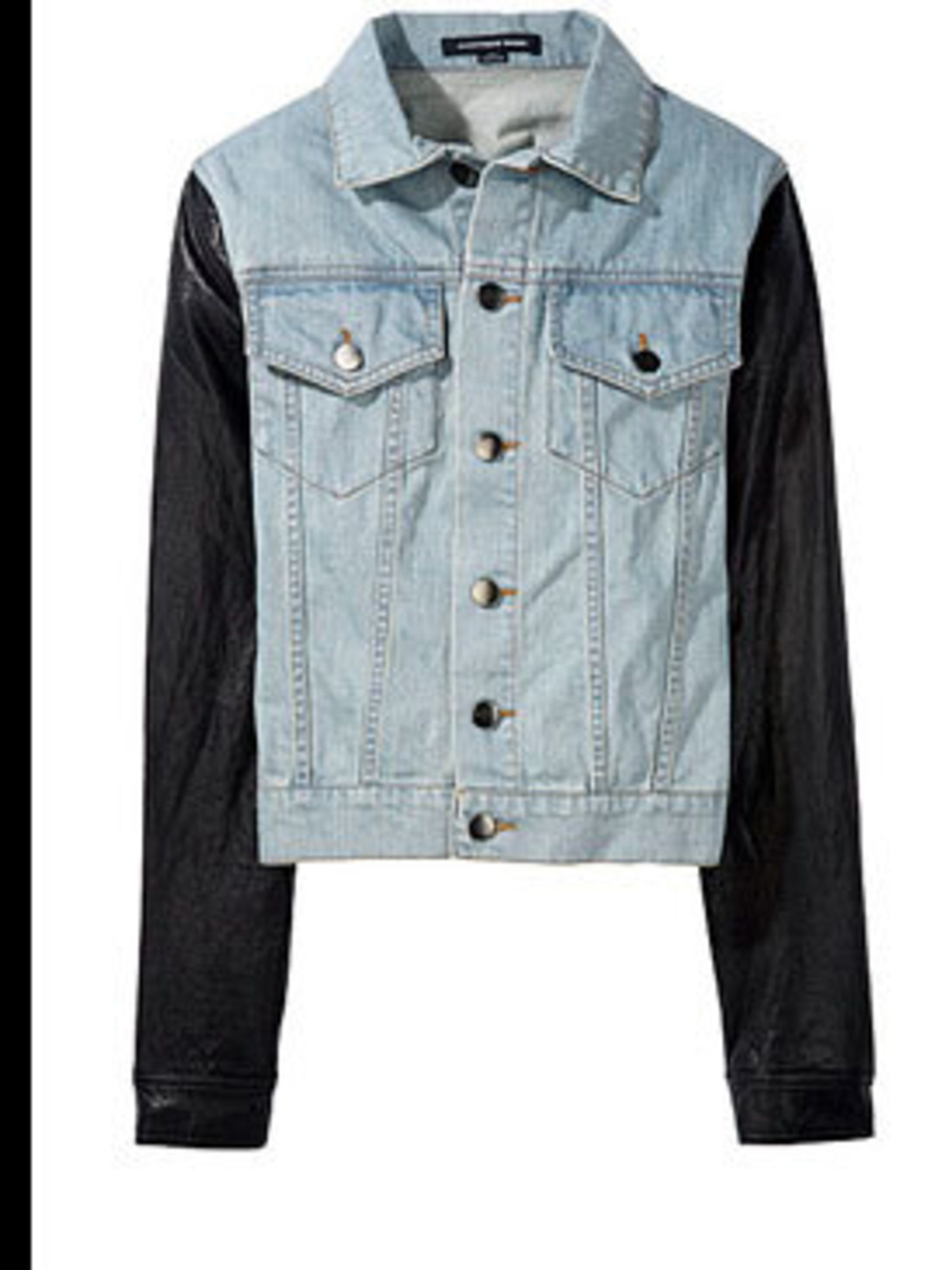 "<p>Denim and leather jacket, £352, by Alexander Wang at <a href=""http://www.lagarconne.com/store/item.htm?itemid=4863&sid=274&pid=124"">La Garconne</a></p>"
