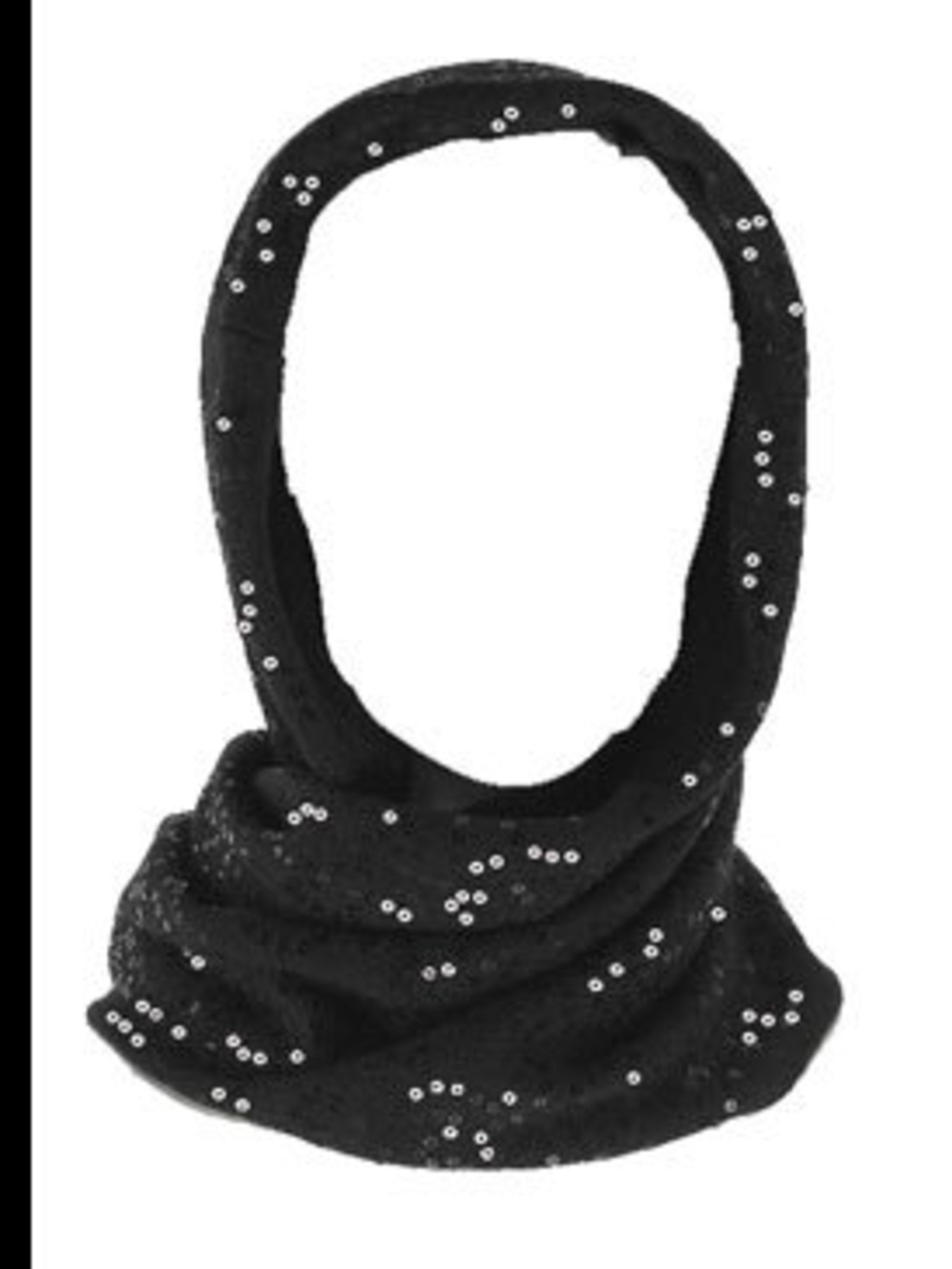 <p>Black sequined snood, £69, by Reiss (0207 473 9630) </p>