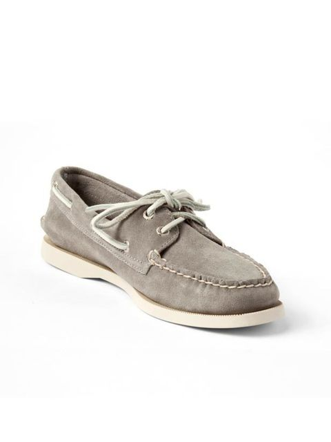"""<p>Taupe suede deck shoes, £90, by S<a href=""""http://www.sperrytopsider.com/store/"""">perry Top-Sider </a></p>"""