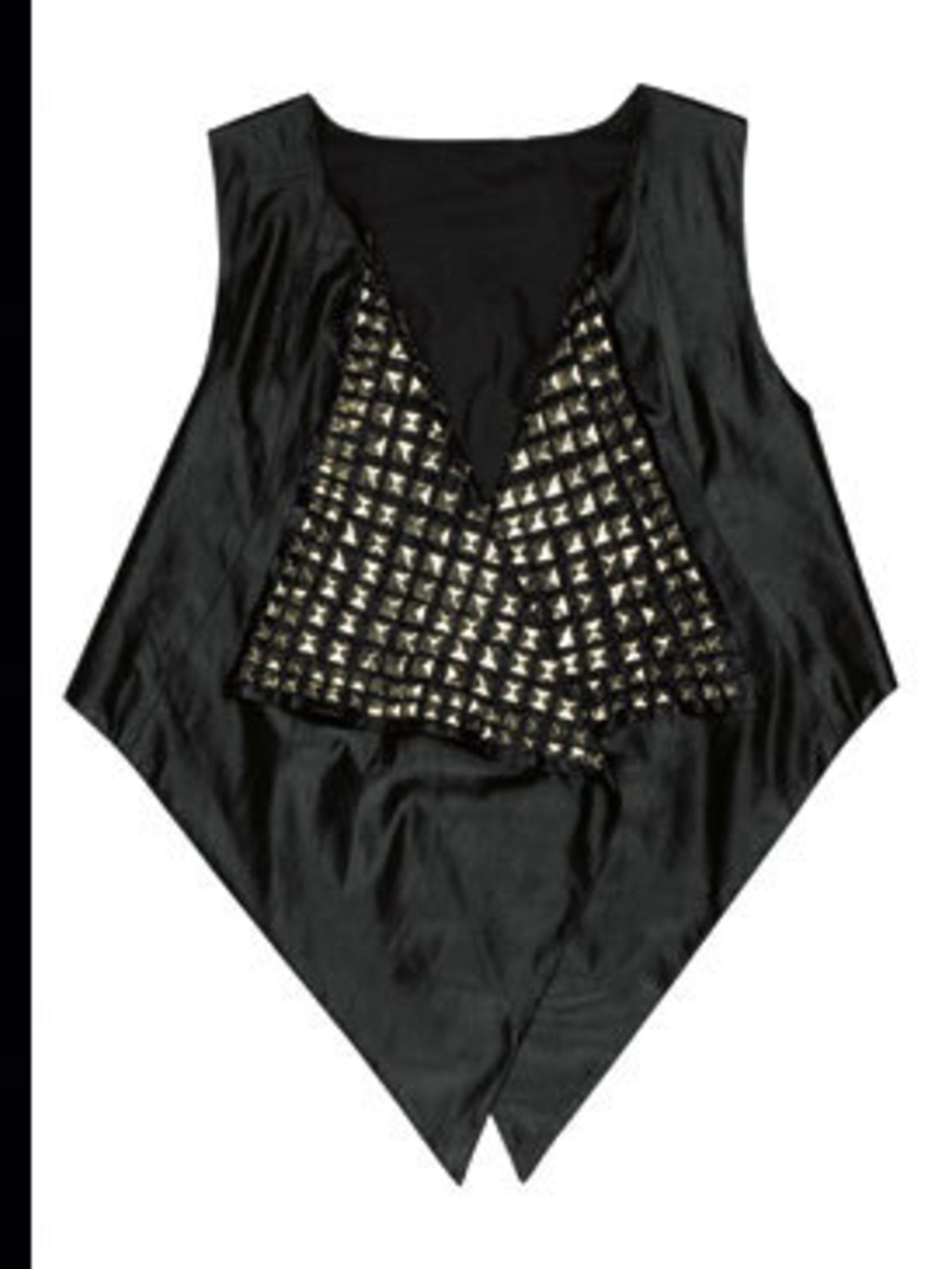 <p>Black studded waistcoat, £60, by Urban Outfitters (0203 219 1944)</p>