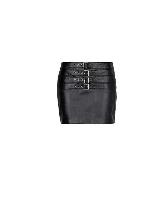 """<p>Add grunge appeal with a black leather skirt.</p><p>This one with buckles is from <a href=""""http://shop.mango.com/GB/p0/mango/clothing/buckle-leather-miniskirt/?id=13085577_02&n=1&s=prendas.faldas&ie=0&m=&ts=1378727550525"""">Mango</a>,"""
