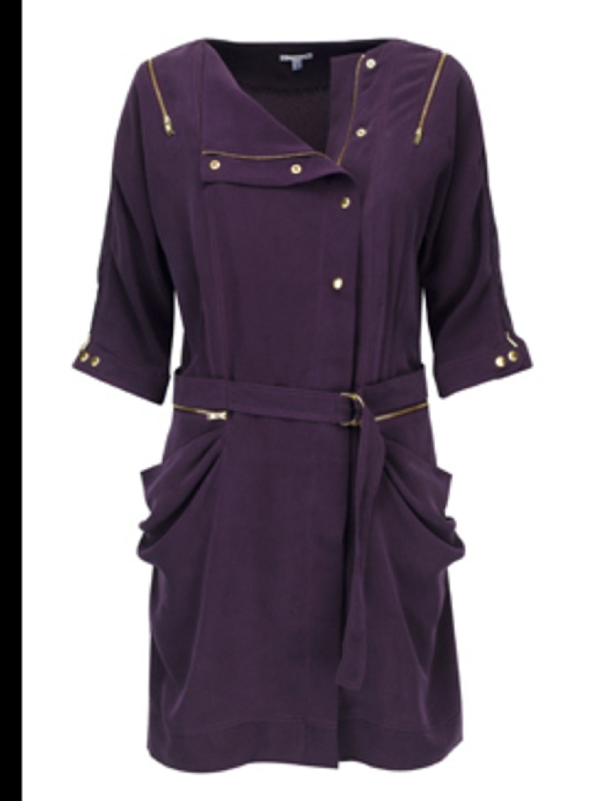 <p>Aubergine trench dress, £59, by Marks & Spencer. For Stockists call 0845 302 1234.</p>