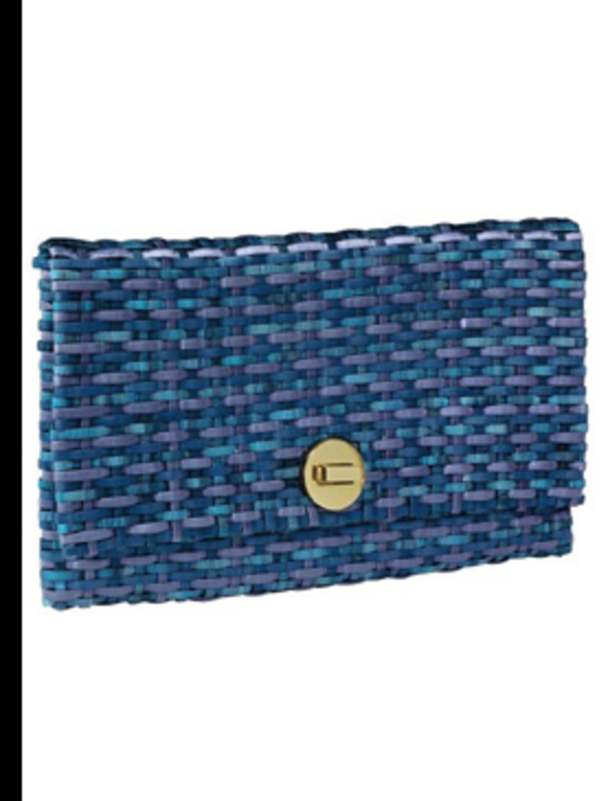 <p>Blue weaved clutch, £9.99, by H&M. For stockists call 0207 323 2211</p>