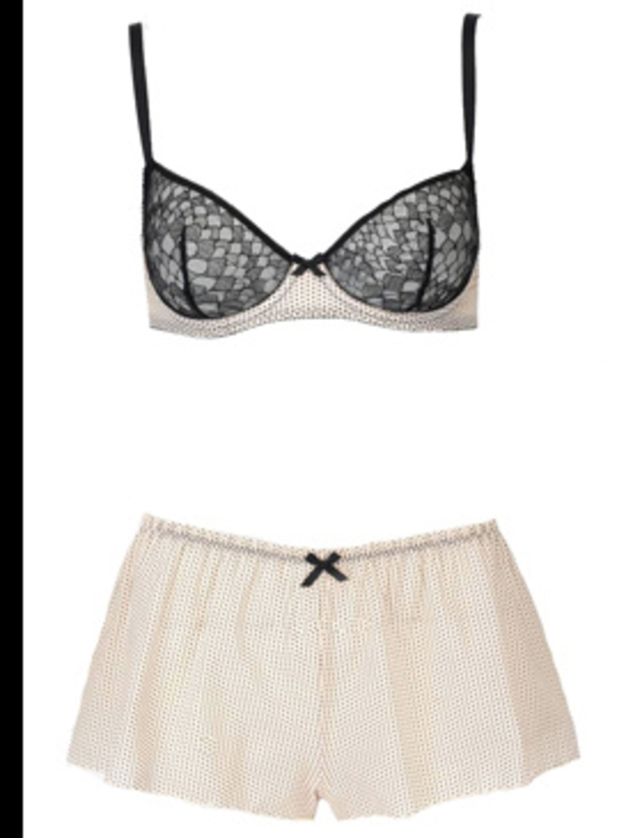 "<p>Polka dot bra £89, and polka dots panty £52, by <a href=""http://www.wolfordboutiquelondon.com"">Wolford</a></p>"