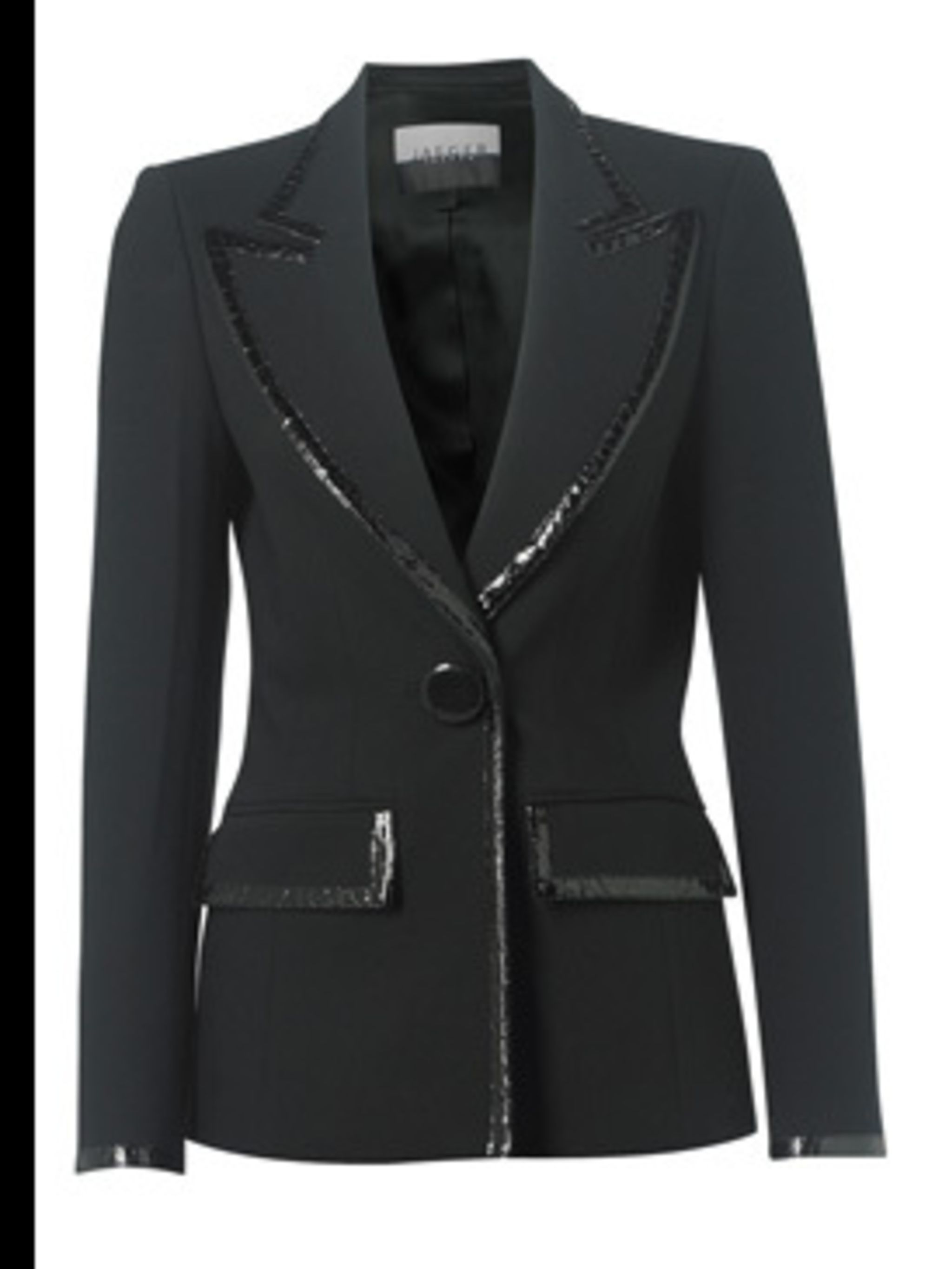 """<p>Blazer, £299.00 from <a href=""""http://www.jaeger.co.uk/index.cfm?page=1094&productid=660021N&productvar=660021N-00100-12&refpage=1372"""">Jaeger</a></p>"""