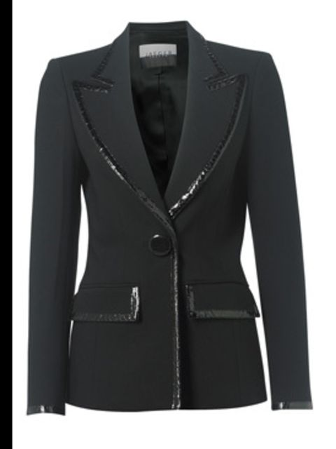 "<p>Blazer, £299.00 from <a href=""http://www.jaeger.co.uk/index.cfm?page=1094&amp;productid=660021N&amp;productvar=660021N-00100-12&amp;refpage=1372"">Jaeger</a></p>"