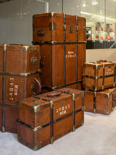 <p>Suitcases for the Grand Budapest Hotel window display at the Prada store, Berlin</p>