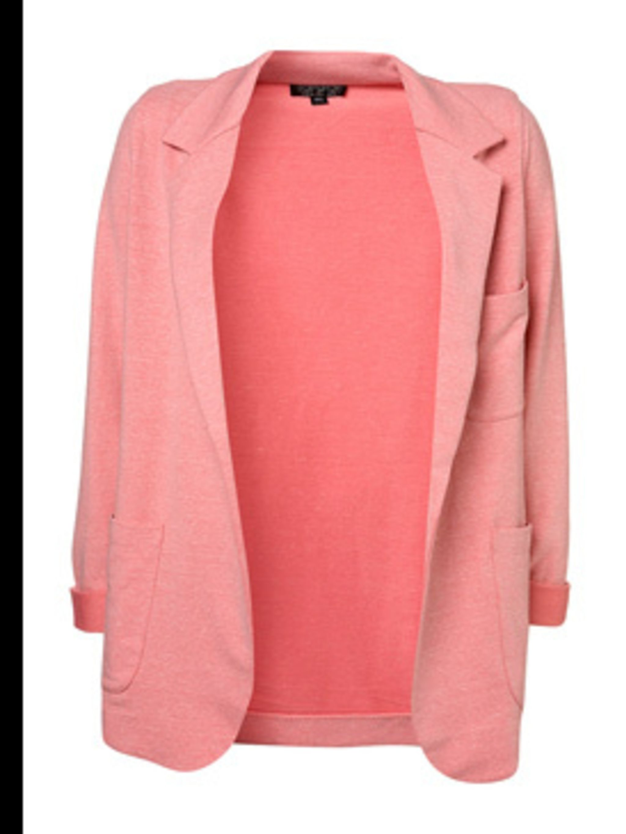 "<p>Casual coral jacket, £40, by <a href=""http://www.topshop.com/webapp/wcs/stores/servlet/CategoryDisplay?catalogId=19551&storeId=12556&categoryId=42347&langId=-1&top=Y"">Topshop</a></p>"