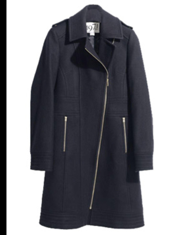 """<p>Black biker coat, £275, by <a href=""""http://www.reiss.co.uk/shop/womens/coats/"""">Reiss</a></p>"""