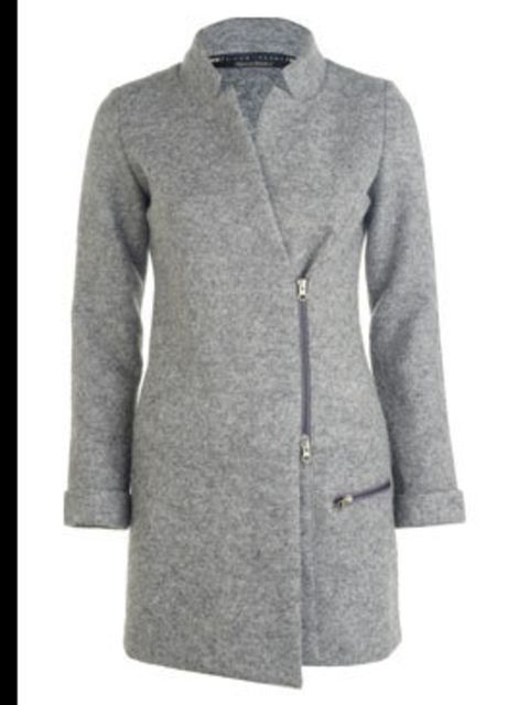 "<p>Grey wool coat, £69.99, by <a href=""http://xml.riverisland.com/flash/content.php"">River Island</a></p>"