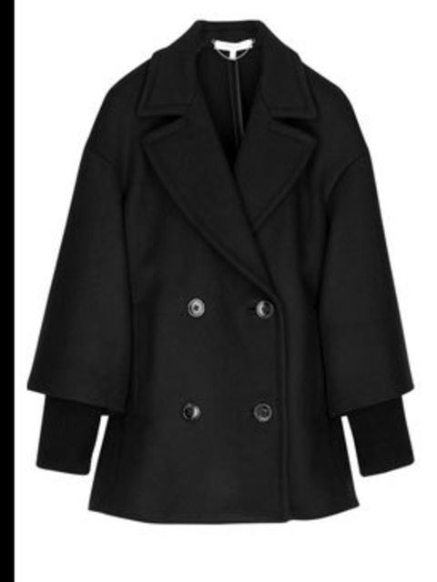 "<p>Black coat, £465, by Vanessa Bruno at <a href=""http://www.net-a-porter.com/product/46218"">Net-a-Porter</a></p>"