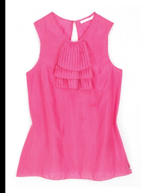 <p>Pink ruffle top, £70, by Full Circle. For stockists call 020 8753 0112</p>