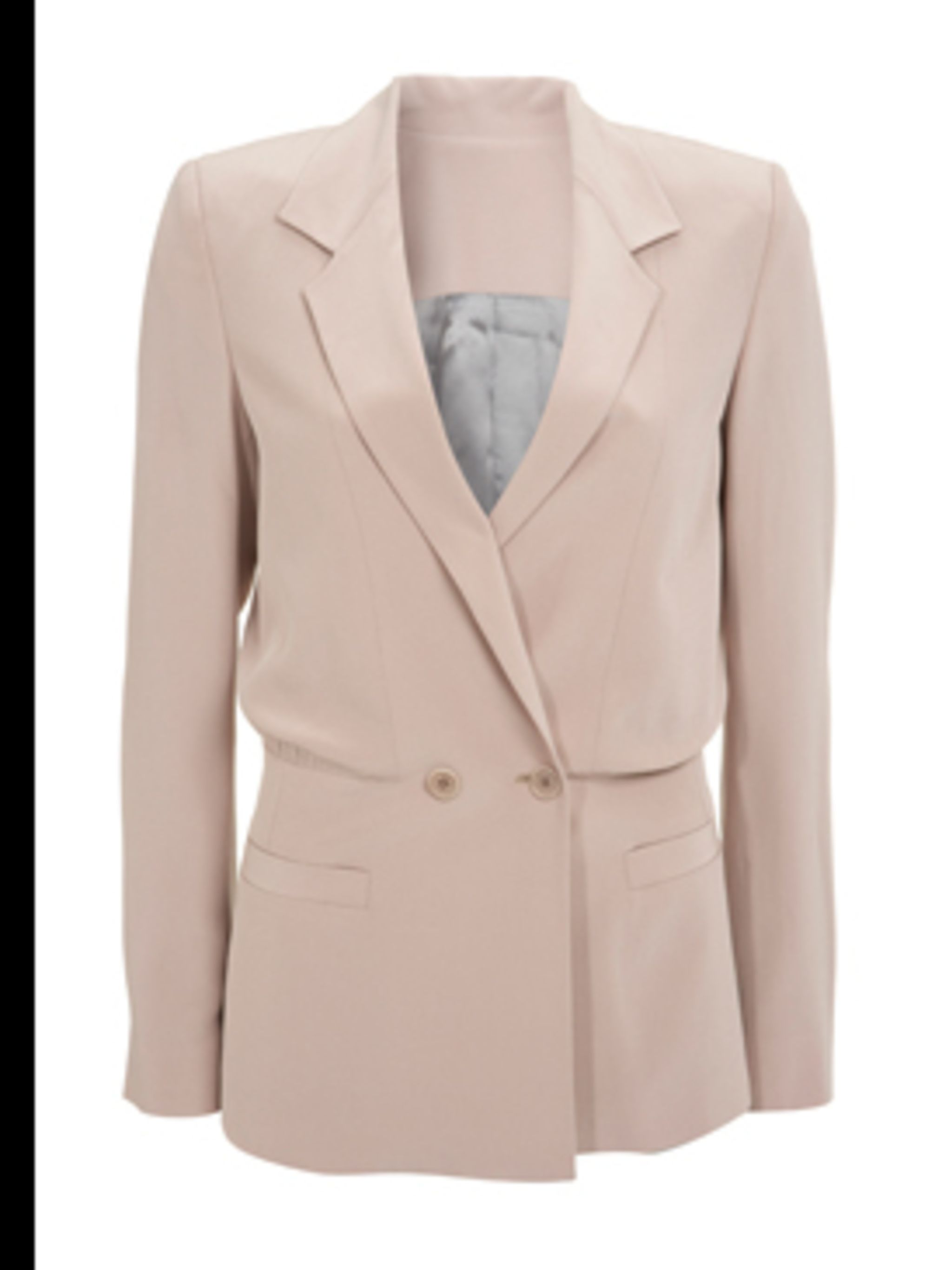 <p>Pink silk blazer, £159, by Reiss. For stockists call 0207 473 9630.</p>