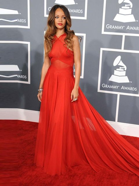 <p>Rihanna gets our best dressed vote hands down thanks to her stunning red Azzedine Alaia gown.</p>