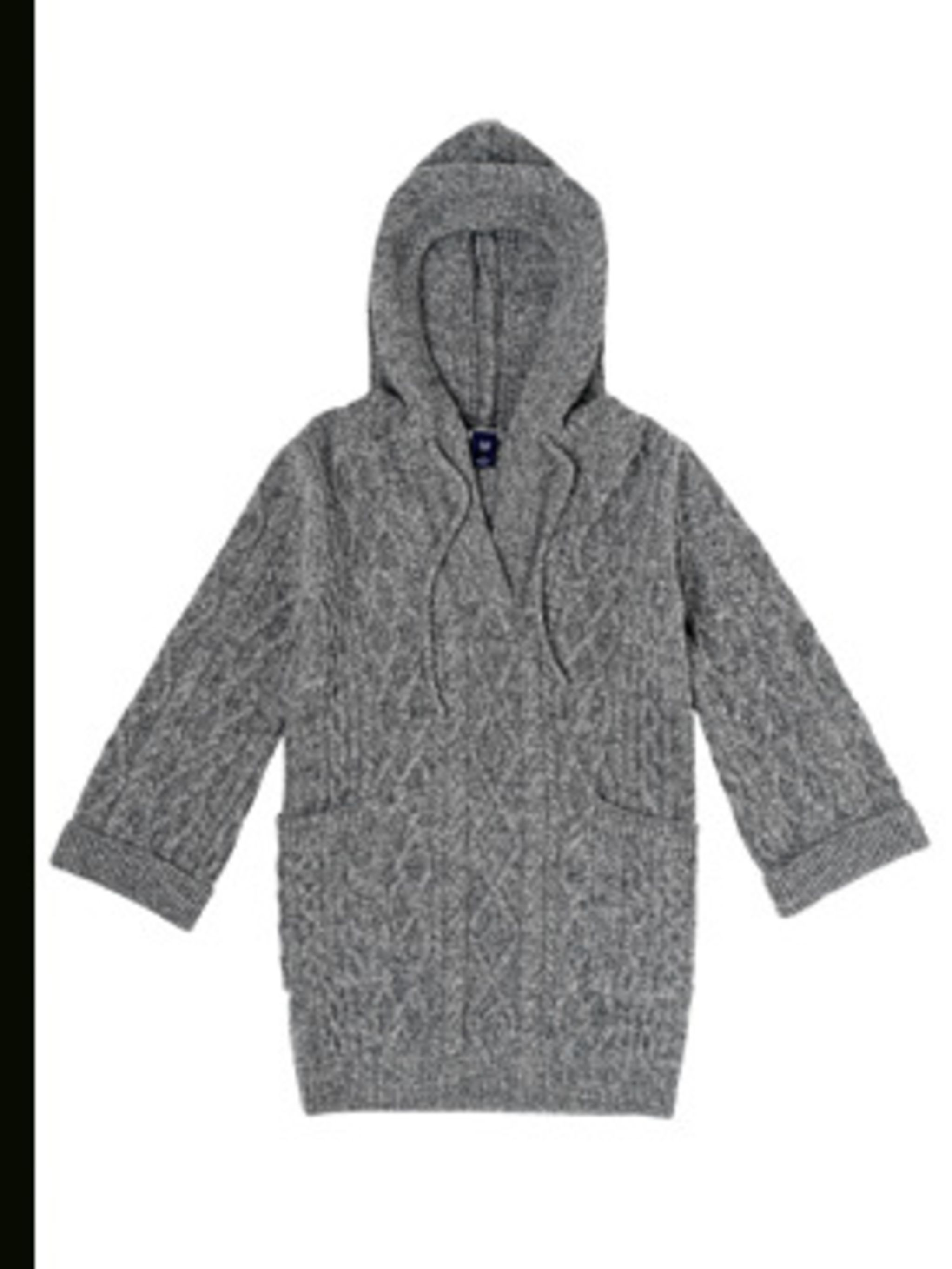 <p>Grey Chunky Knit Hooded Jumper, £45 by Gap 0800427789</p>