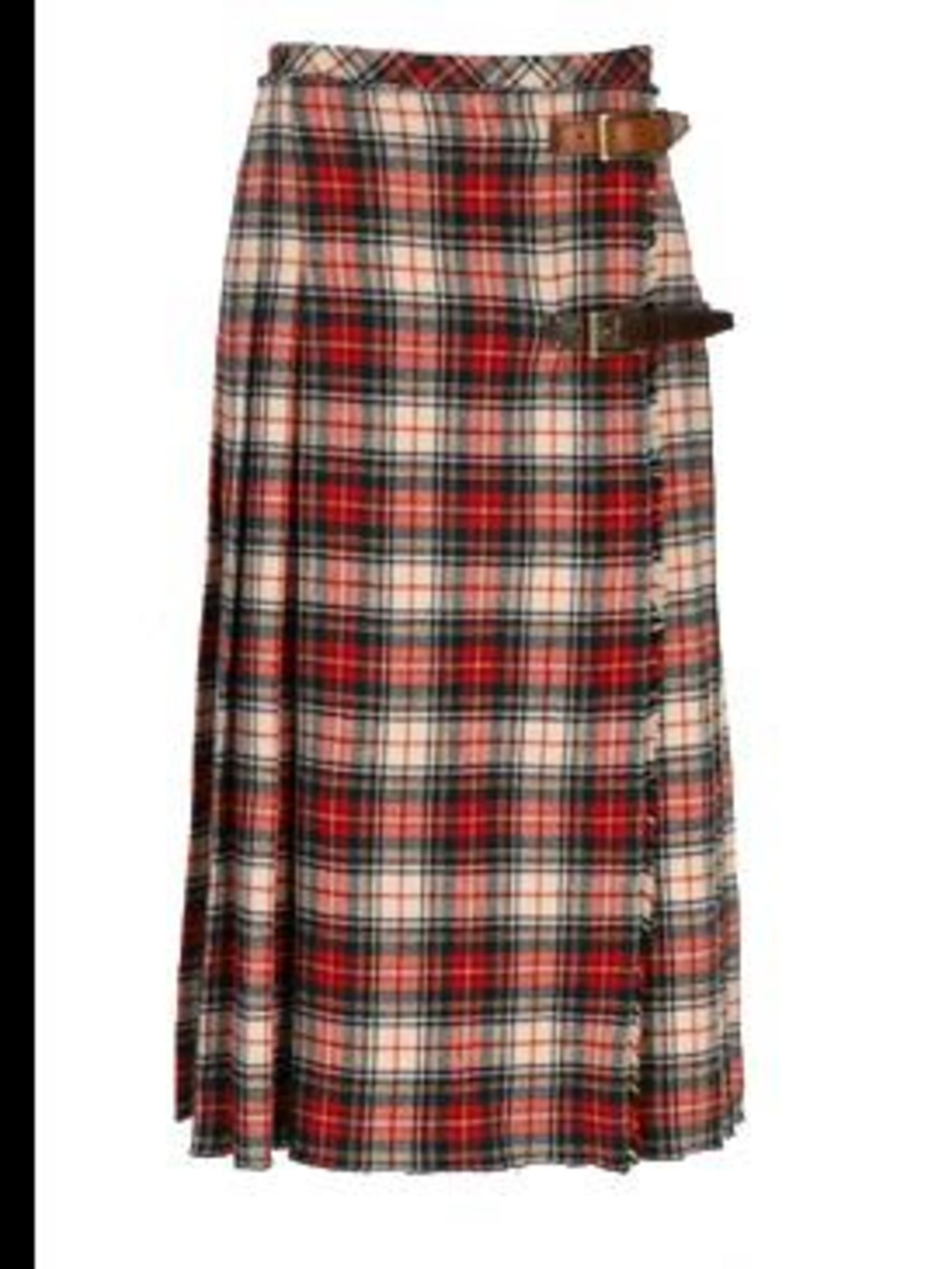 <p>Cream and red tartan wool skirt, £375, by D&G (0207 495 9250)</p>