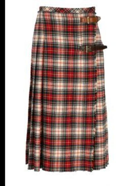 <p>Cream and red tartan wool skirt, £375, by D&amp;G (0207 495 9250)</p>