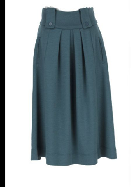 <p>Teal skirt, £269, by Betty Jackson at Fenwick (0207 629 9161)</p>