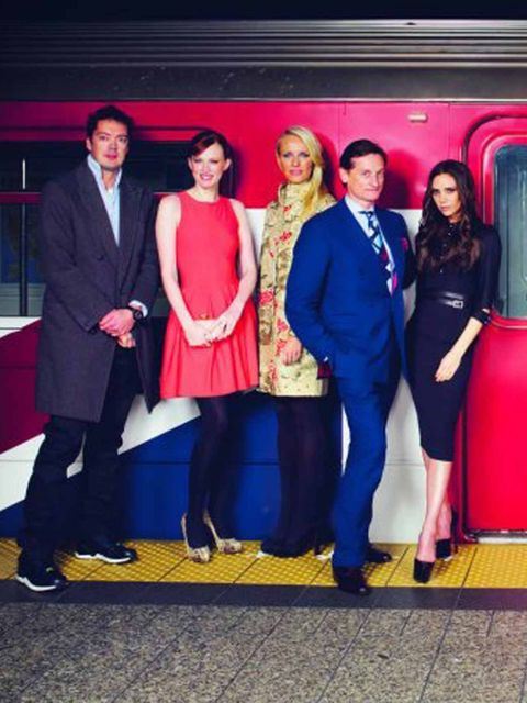 <p>Marcus Wainwright, Karen Elson, Keren Craig, Hamish Bowles and Victoria Beckham at the GREAT launch.</p>