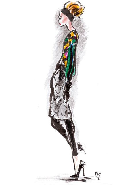 <p>A Clements Ribeiro A/W '12 look illustrated by Clym Evernden</p>