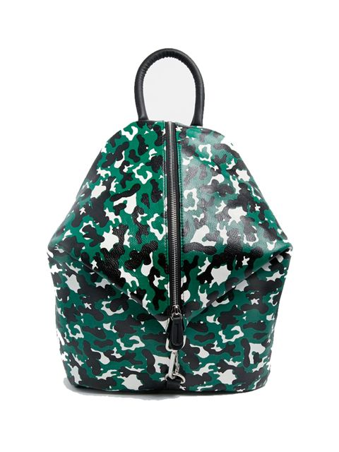 """<p>Market & Retail Editor Harriet Stewart will sling this camo backpack over one shoulder (it's way spacier than your think).</p><p></p><p><a href=""""http://www.asos.com/ASOS/ASOS-Front-Zip-Backpack-With-Dog-Clip-And-Pockets/Prod/pgeproduct.aspx?iid=5"""