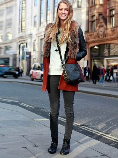 <p>Alex, 24, Promotions Designer. Zara coat, Topshop jumper &amp&#x3B; bag, Uniqlo jeans, Office boots.</p>