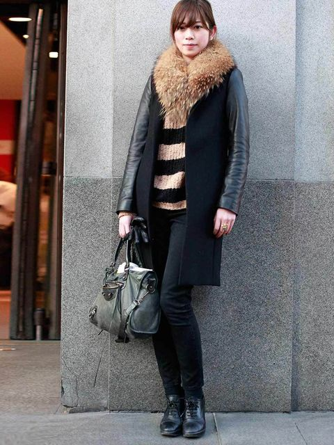 <p>Miuami Urano, 24, Student. Zara coat, jumper, faux fur and shoes from Tokyo, Topshop jeans, Balenciaga bag.</p>