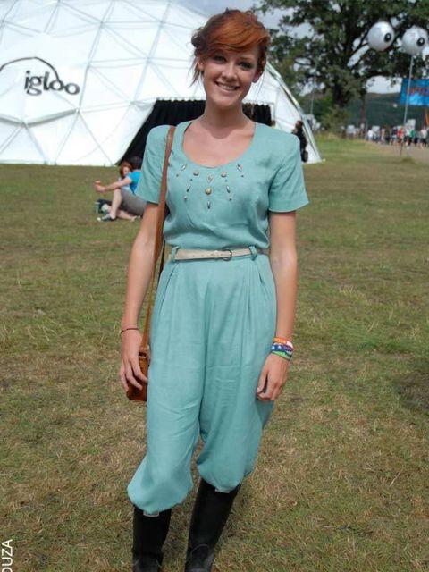 <p>Elisabeth, 18, Student. Beyond Retro jumpsuit, Mango belt, Hunter wellies, Primark bag.</p>