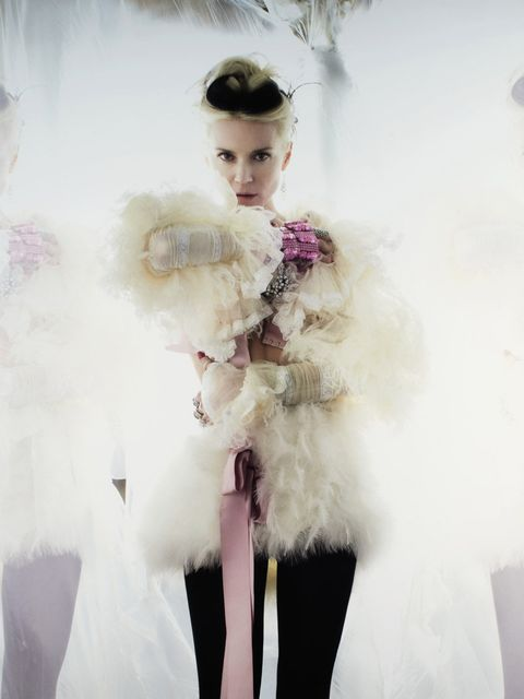 <p>Daphne Guinness modelling one of the pieces up for auction</p>