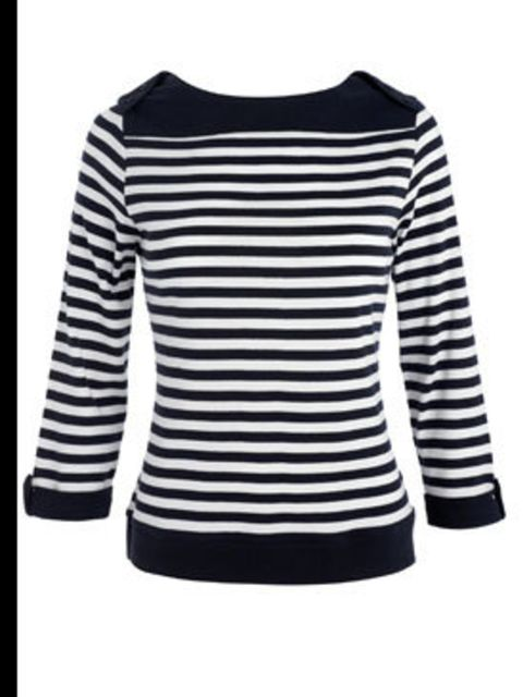 <p>Navy breton top, £16, by Debenhams (08445 61 61 61)</p>