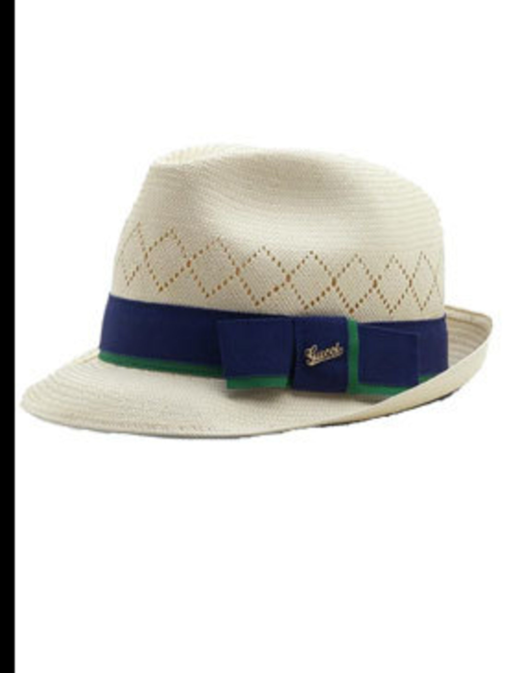 <p>Straw hat with blue ribbon, £137, by Gucci (0207 629 2716)</p>