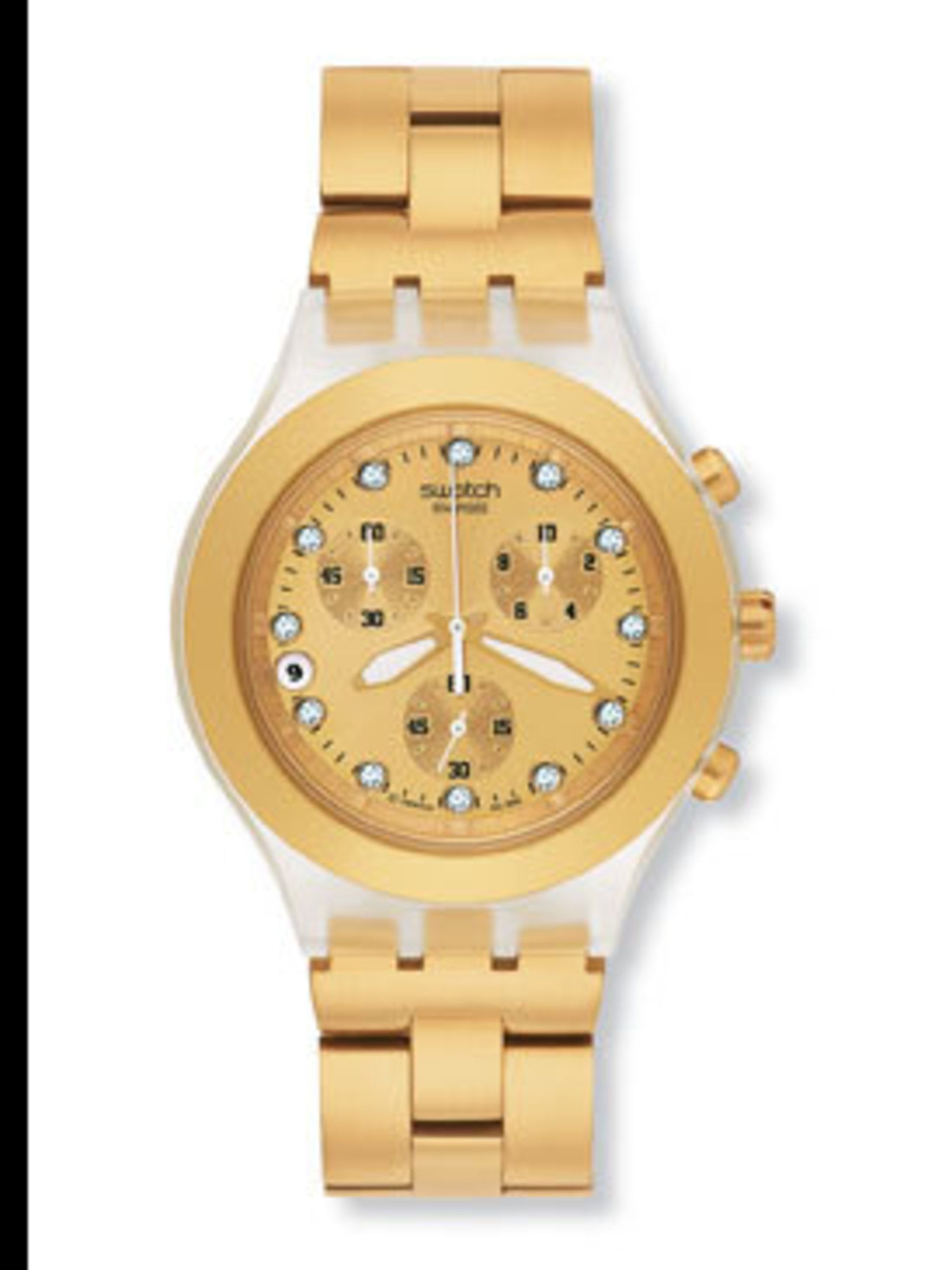 "<p>Gold watch, £85, by <a href=""http://eu-shop.swatch.com/eshop/uk/en/Watches/IRONY/Chronos/SVCK4032G.aspx"">Swatch</a></p>"
