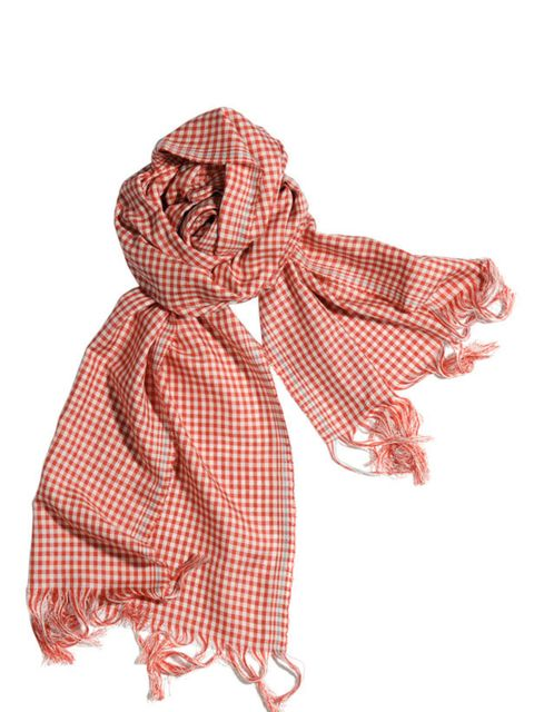 "<p>Red gingham scard, £125, by <a href=""http://www.margarethowell.co.uk/"">Margaret Howell</a></p>"