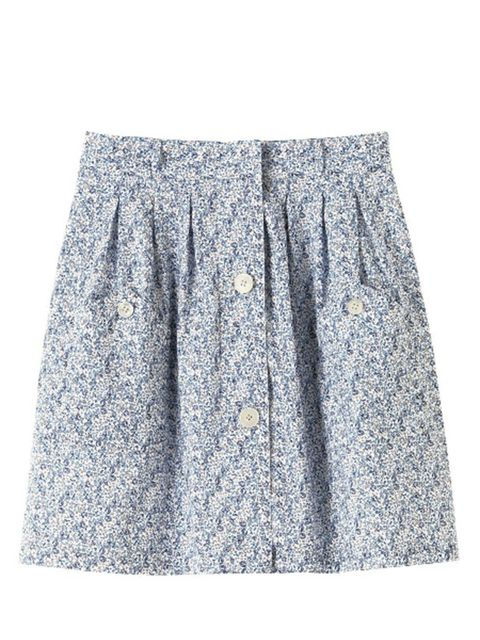 "<p>Buttoned floral skirt, £120, by <a href=""http://www.apc.fr/homeS09.php?r=1&amp&#x3B;ew=1280&amp&#x3B;eh=1024&amp&#x3B;Largeur=1280&amp&#x3B;Hauteur=832&amp&#x3B;rnd=1265115288&amp&#x3B;&amp&#x3B;camp=&amp&#x3B;email=&amp&#x3B;specialDisplay=standard&amp&#x3B;ref=0&amp&#x3B;refc=0&amp&#x3B;zone=eu&amp&#x3B;lg=en&amp&#x3B;"