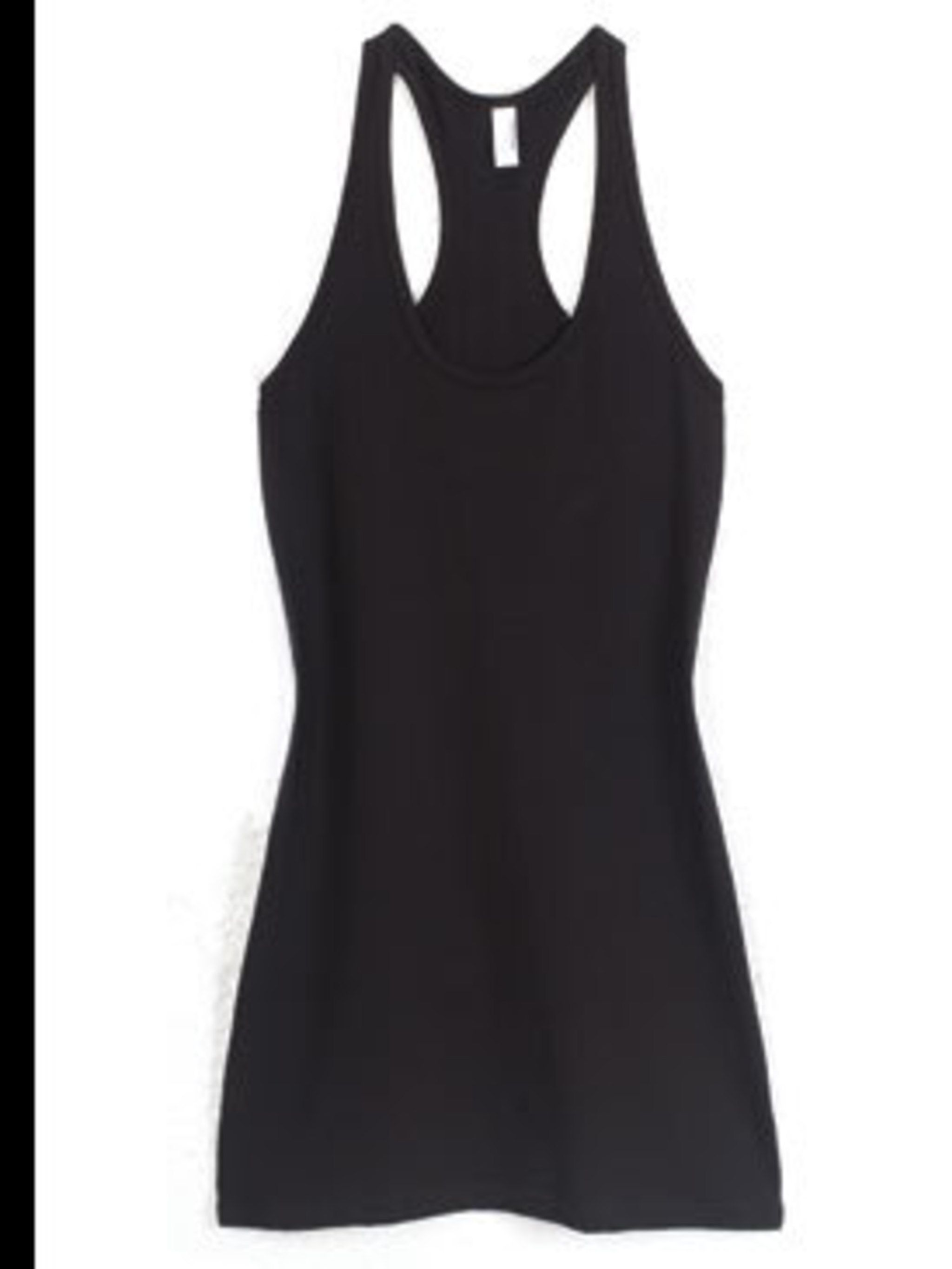 """<p>Black racer back t-shirt dress, £20, by <a href=""""http://store.americanapparel.co.uk/2335.html"""">American Apparel</a></p>"""