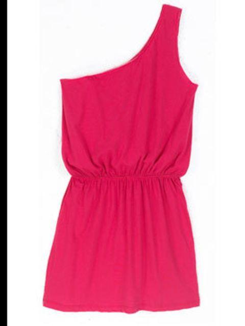 <p>Pink one shoulder t-shirt dress, £65, by LNA at Oxygen (0207 636 6001)</p>
