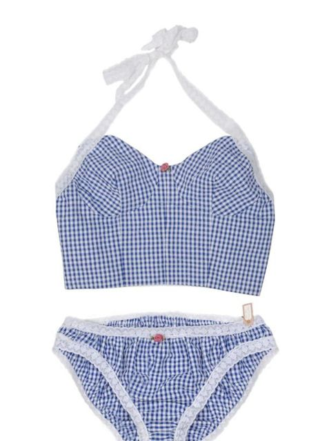 "<p>Gingham cami and knicker set, £21, by Miss Crofton at <a href=""http://www.pretaportobello.com/shop/underwear/sets/miss-crofton-blue-gingham-cami-and-knicker-set.aspx"">Pretaportobello</a> </p>"
