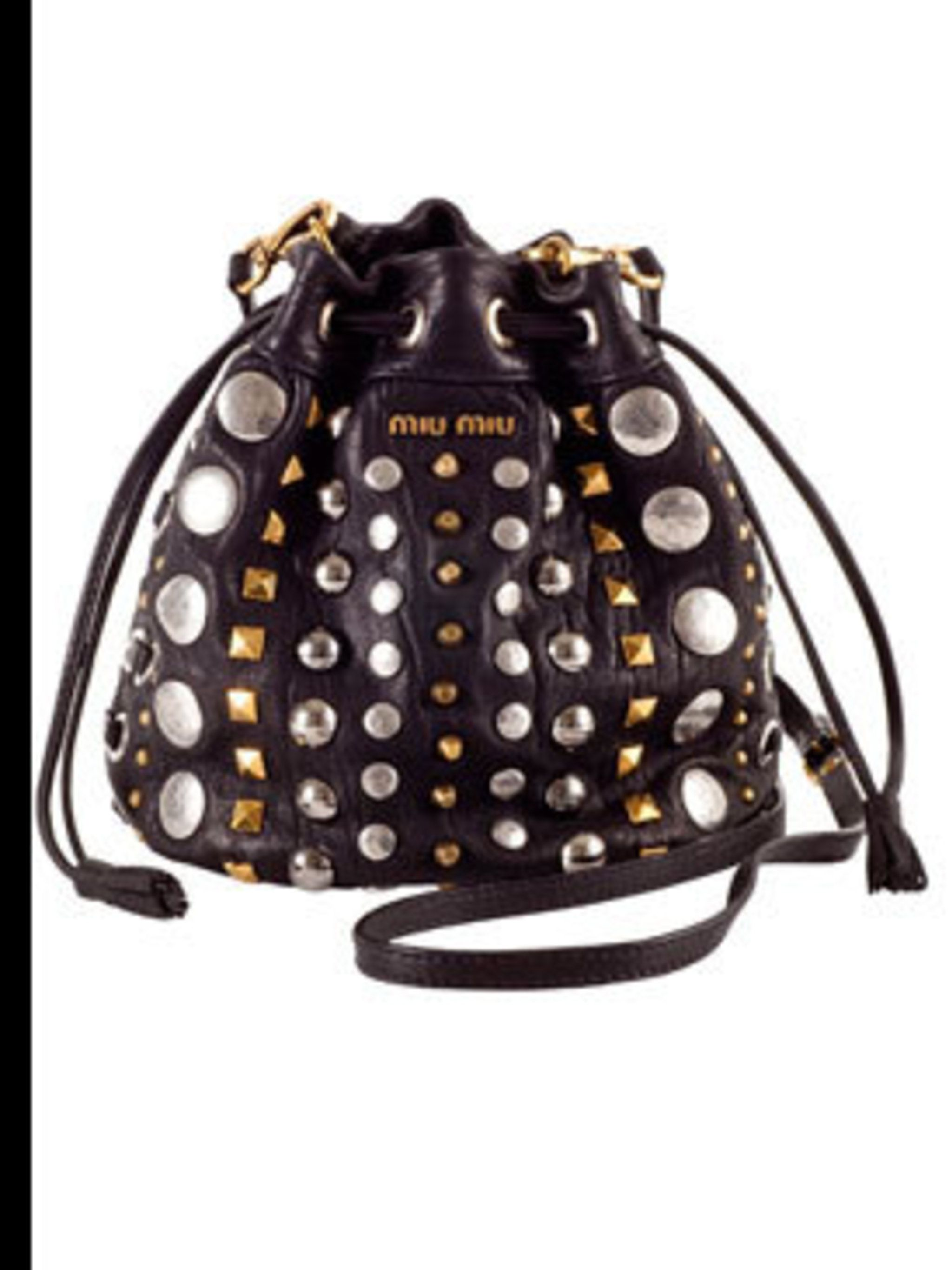 "<p>Black studded bag, £400, by <a href=""http://www.miumiu.com/"">Miu Miu </a></p>"