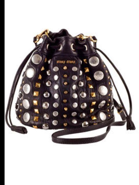 "<p>Black studded bag, £400, by <a href=""http://www.miumiu.com/"">Miu Miu </a></p>"