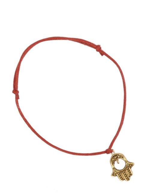 "<p>Red rope bracelet with gold Hamsa charm, £7, by Kool Jewels ay <a href=""http://www.pretaportobello.com/shop/jewellery/bracelets/kool-jewels-red-rope-bracelet-with-gold-hamsa.aspx"">Pretaportobello</a></p>"