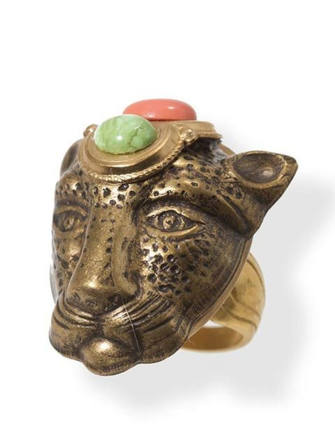 """<p>Jaguar head cocktail ring, £175, by Patrice at <a href=""""http://www.frenchsdairy.com/designers/patrice/rings/handmade-patrice-lion-head-ring.html"""">French's Dairy</a> </p>"""