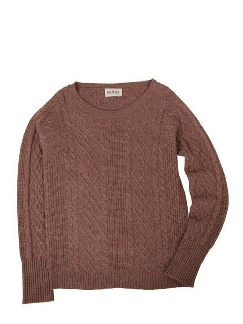 <p>Brora cable knit sweater, £289, for stockists call 0845 659 9944 </p>