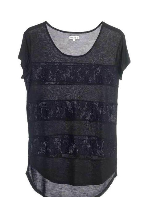 "<p><a href=""http://www.reissonline.com/shop/womens/tops/luca/black/"">Reiss</a> lace insert T-shirt, £69</p>"