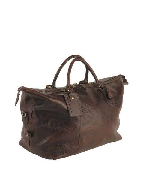 <p>Dark leather weekend bag, £219, by Barbour (0800 009 988)</p>