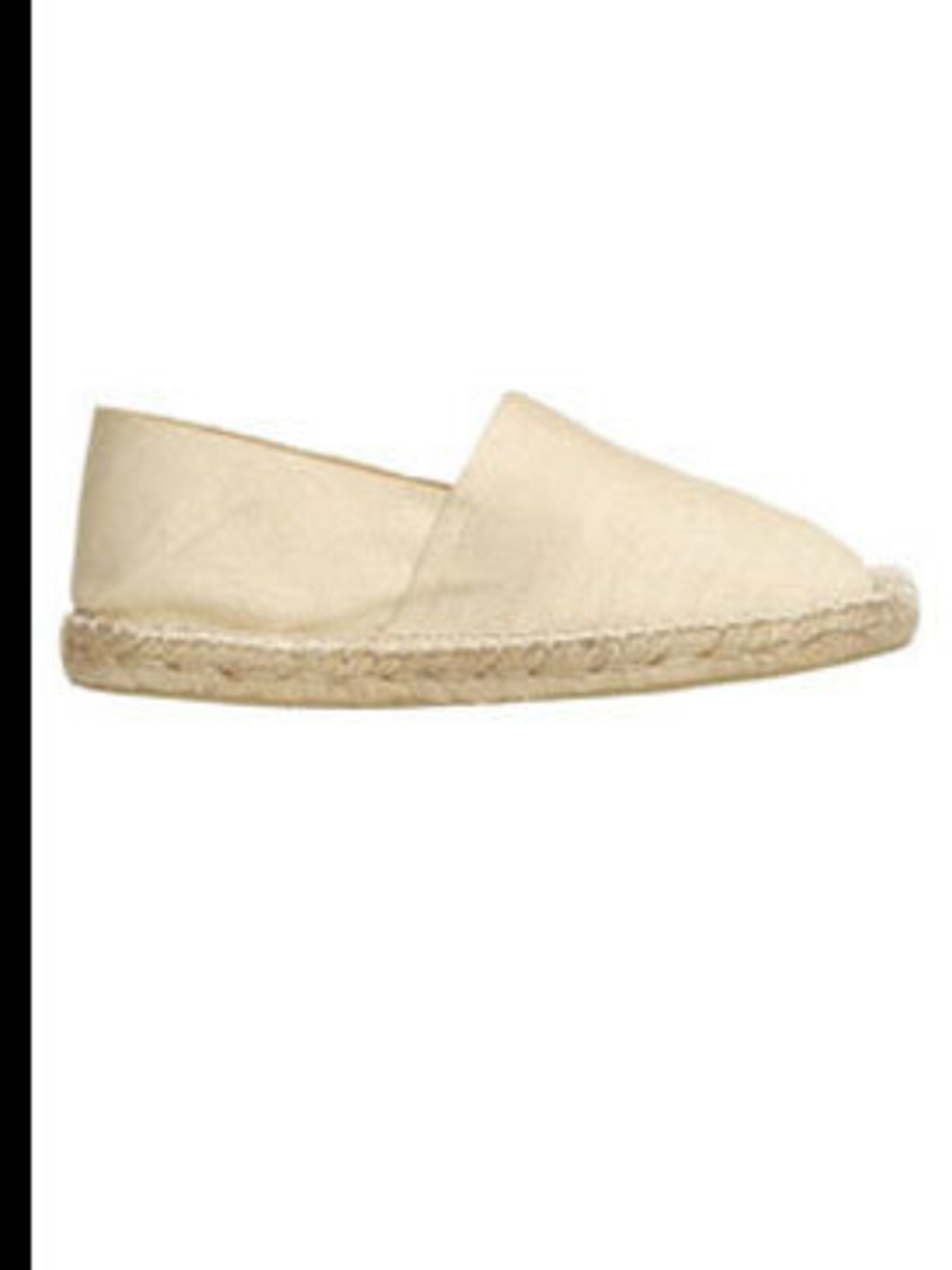 """<p>Beige espadrilles, £15, by <a href=""""http://www.toast.co.uk/product/shoes/F1ES1/canvas+espadrille.htm?categoryref=%2Fcategory2.aspx%3Fcategoryid%3Dshoes%26seoterm%3Dshoes%26nopaging%3Dtrue%26"""">Toast</a></p>"""