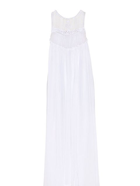 "<p>White cotton maxi dress, £190, by By Malene Birger at <a href=""http://shop.harveynichols.com/fcp/product/-//Beaded-maxi-dress/325088?colour=white"">Harvey Nichols</a></p>"