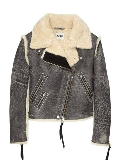 "<p>Acne grey leather aviator jacket, £1,080, at <a href=""http://www.my-wardrobe.com/acne/grey-leather-vintage-style-flight-jacket-450195"">My-Wardrobe</a></p>"