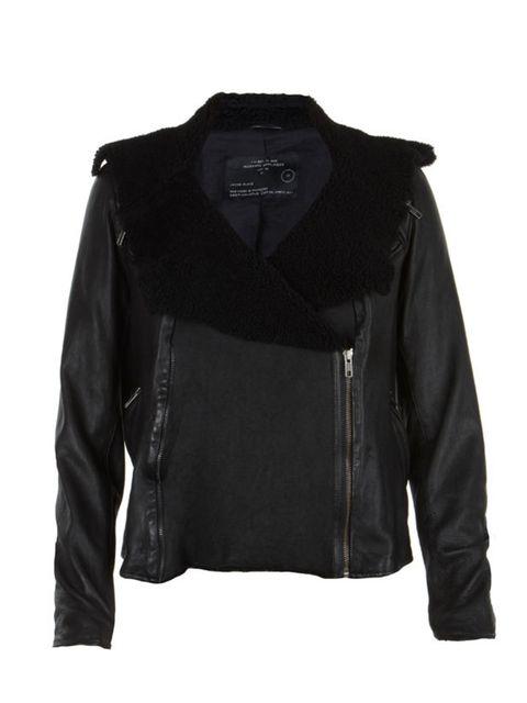<p>All Saints black shearling aviator jacket, £495, 0844 980 2211</p>